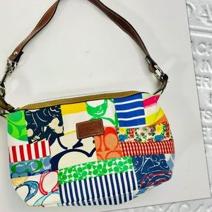 AUTH COACH Hamptons Patchwork shoulder purse bag